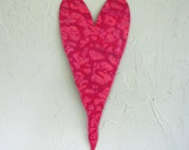 Metal art decor Valentine Heart  coral magenta upcycled metal wall sculpture 6 x 16