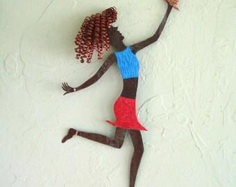 Metal Art Sculpture Wall Decor Follow Your Heart Reclaimed Metal Wall Hanging Red Head Blonde  12 x 20