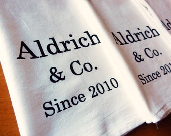 Custom Kitchen Towels - Personalized Tea Towels Set of 3 - Your Name and Year