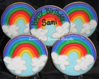 Rainbow Cookies - Rainbow Decorated Cookies -12 Cookies