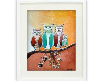 Animal Art, Kids Wall Art Owl Print, Owl Art Giclee Print, Birds Nursery Art, Nursery Room Decor, Nursery Wall Art, Signed Print
