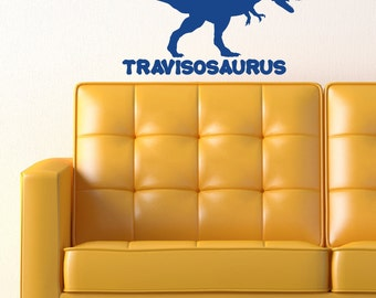 Custom Dinosaur Name with Tyrannosaurs Rex (T. Rex) 10x22 inches Vinyl Wall Decal Custom