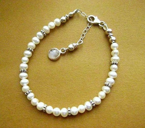 Pearl Bracelet. Flower Girl, First Communion or  Petite Bride. Choice of Sterling Silver Charm.