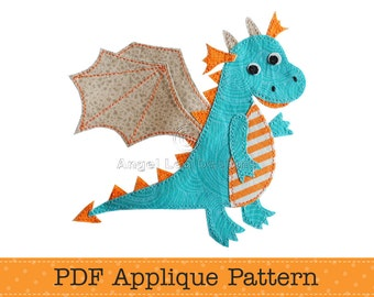 Dragon Applique Pattern PDF Cute Dragon Applique Template, Childrens Applique Design, Instant Download
