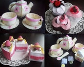 BUNDLE SET Felt Tea Pot with Cakes  - Instant Download - PDF Ebook Tutorials