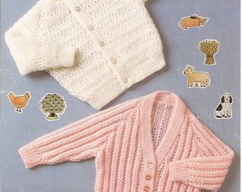 """PDF Knitting Pattern Baby Cardigans to fit sizes 18-22"""" (D250)"""