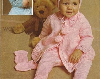 PDF Knitting Pattern Vintage Baby Boy/Girl Matinee Coat, Leggins,Bonnett, Mittens  (D80)