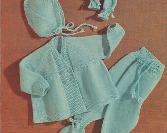 """Vintage Baby's Pram Set Knitting Pattern PDF 18"""" (SD31)"""