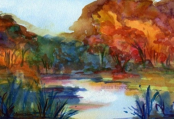 Mystic River Watercolor Print