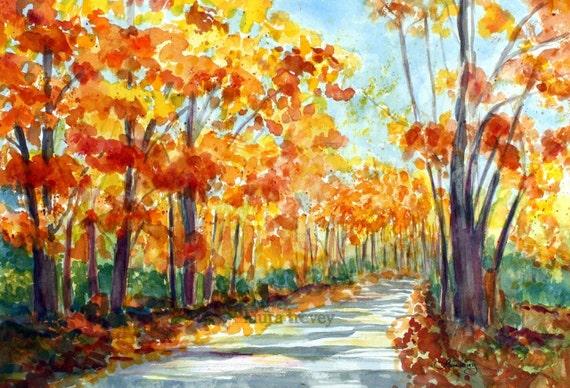 Autumn Leaves Watercolor Print