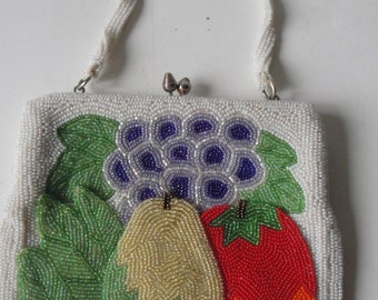 Vintage Beaded Purse Fruit Theme Richere by Walborg Hand Made in Japan