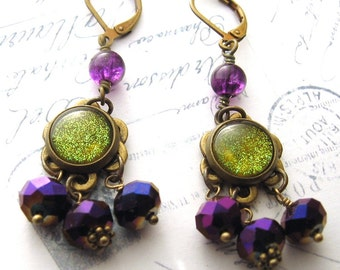 Purple Green Dangle Earrings Celtic Moraccan Color Shifting Antiqued Brass Drops