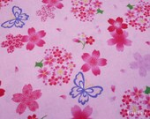 "Scrap / Japanese Fabric - Girlie Sakura Butterfly on Pink - 106cm x 55cm(42""W x 21.6""L) (130228i)"