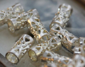 VINTAGE Silver Filigree Spacer Beads - Elaborate Tunnel Shape - 9 mm (6)