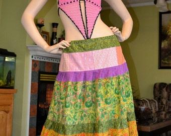 Sale Gypsy Hippie Patchwork Skirt  Or Halter Top