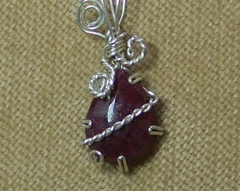 Natural Faceted Red RUBY Sterling Silver Wire Wrap Necklace Pendant SALE