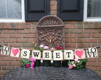 Wedding Banner- Wedding Garland- Love Is Sweet Banner-Bridal Banners- Cake Table Banner- Wedding Photo Prop-Candy Bar Banner