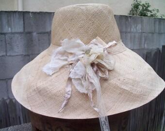Medium Brim Natural Linen Straw Hat with Lovely Silk Corsage Flower