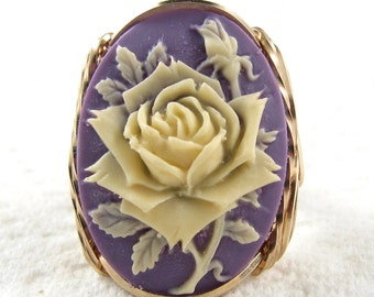 Ivory Rose Purple Cameo Ring 14K Rolled Gold Custom Jewelry