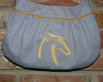 Denim Purse with  Embroidered Greyhound Head Outline