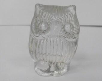 Vintage Clear Glass OWL Figurine