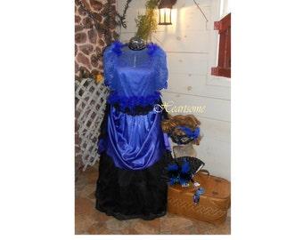 Victorian civil war gown dress 7 pc ensemble 20 plus 1 2X plus Masquerade  mask carnival blue feathers