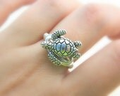 Turtle RING. To Order -Silver Pewter, Ocean, Sea, Aquatic, Nautical, Silver, Grey, Animal, Jewelry Rings, Silver Rings, Jewelry for Kids