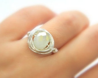 Opal White Ring, White Crystal Ring, Snow White Ring, Ice Grey Ring, Wire Wrapped Ring, October Stone, Jewelry Rings, Cocktail Ring, Size 6