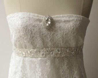 Jeweled Sashes Hand Beaded Bridal Sash Belt with rhinestones crystal beads ivory
