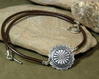 Womens Concho Necklace, Choker Necklace, Brown Leather Choker, Tribal Necklace,  Bohemian Necklace, Southwestern Leather Necklace