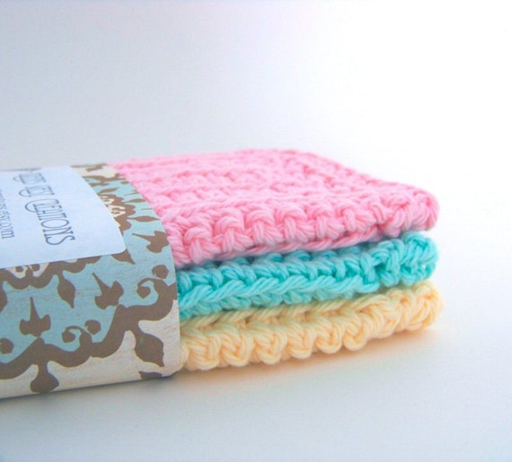 "Wash Cloths, Dish Cloths, Cotton - Pink, Cream and Mint Green Solid - Crocheted 3 Piece Set ""Pastel Solids"""