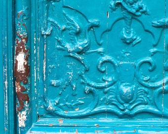 Paris Photography - Turquoise Doors in the Marais Paris, France 8x10 Photograph - French Home Decor  - rustic teal door