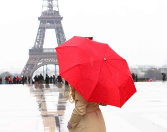 Paris Photography, Girl in Paris, Red Umbrella in Paris, Eiffel Tower, Paris in the rain, Paris Red Wall Art, Ruby Red, Rain in the Paris