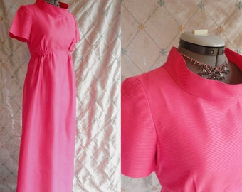 60s Dress // Prom Dress // Vintage 1960s Pink Maxi Party Prom Dress by Emma Domb California Size S