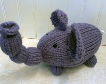 Hand Knitted Elephant, Stuffed Animal, Stuffed  Elephant, Toy