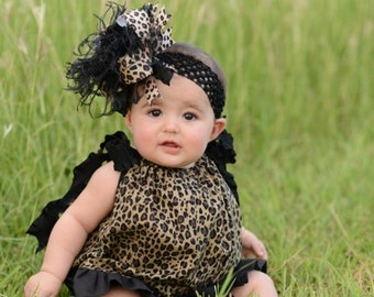 Black and Brown Leopard Over The Top  Bow on Matching Headband Free Shipping On All Addional Items
