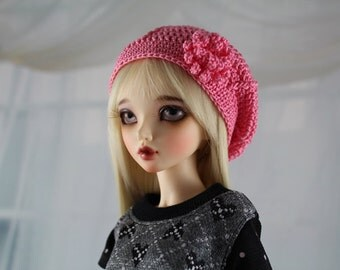 Dark Pink Crochet Hat for MSD BJD, Minifee, MNF -New Style-