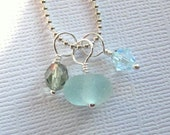 Sea Glass Necklace  Beach Glass Jewelry :  Ocean Colors