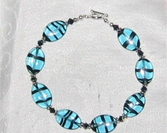 Beautiful Blue and Black Striped Beaded  SS Bracelet - 259