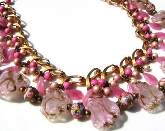 Redesigned vintage venetian foil and wedding cake bead necklace