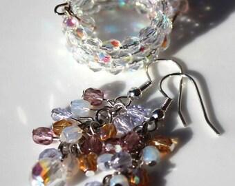 SUPER SALE -- Aurora borealis firepolished glass handmade ring and earring set