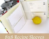 5 sleeves (room for 10 or 20 additional recipe cards) 8x8 recipe book