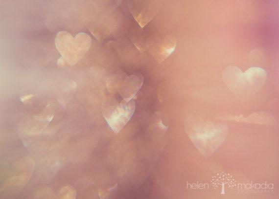 heart photograph, abstract photo, still hearts, sparkle, pinks and creams, romantic, heart bokeh, nursery wall art, landscape, lensbaby