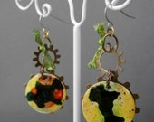 SALE Green, Yellow, and Orange Alcohol Ink and Metal Earrings