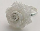 Silver rose ring wire mesh folded sculpture