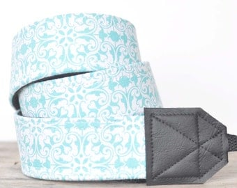 MADE TO ORDER - Camera Strap - Aqua Filigree