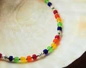 Rainbow Frosted Glass Anklet, Frosted Glass and Sterling Silver, Colorful Jewelry, Handcrafted Jewelry, Beach Jewelry