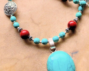 Turquoise Bezel Pendant with Turquoise and Red Coral Necklace, Turquoise and Red Coral Southwestern Style Pendant Necklace, Cowgirl Necklace