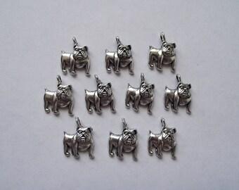Bulldog charms- ten charms- antique silver charms