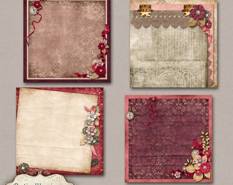 Everlasting - Digital Scrapbooking Papers  - Stacked Papers -  4 Designed Stacked Papers - 12 x 12 Inches - INSTANT DOWNLOAD -2.75